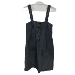 Vero Moda Denim Jean Overall Dress, Dark Wash, M